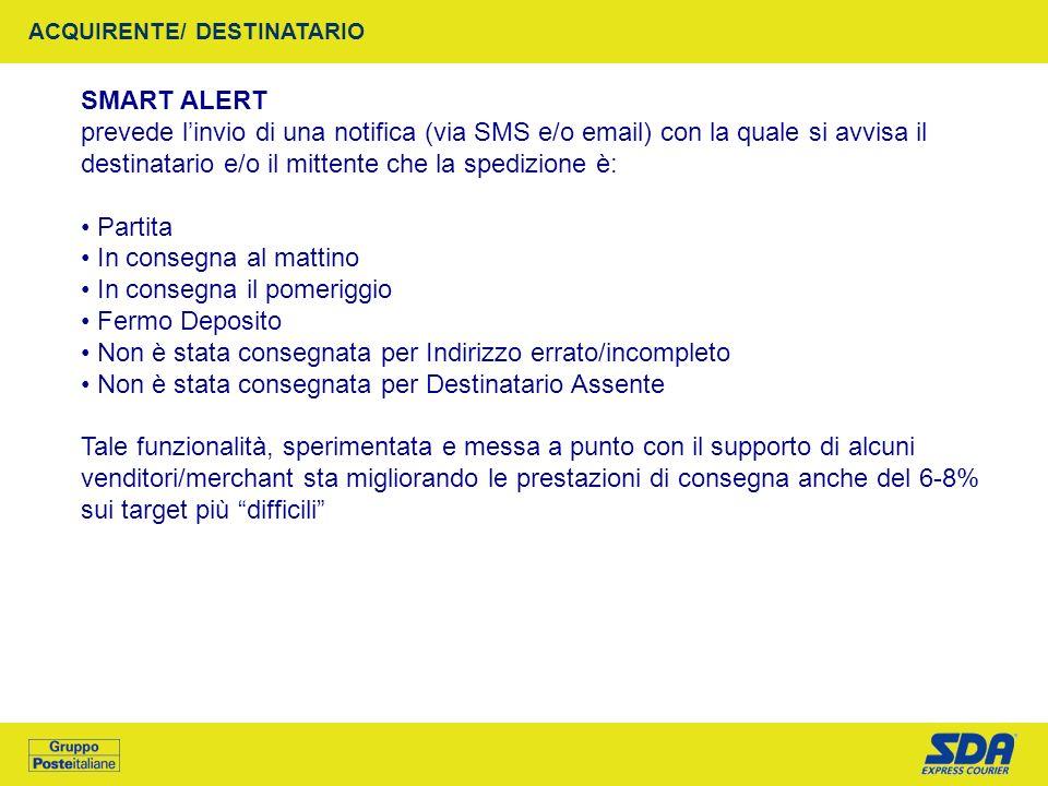 SMART ALERT prevede linvio di una notifica (via SMS e/o email) con la quale si avvisa il destinatario e/o il mittente che la spedizione è: Partita In