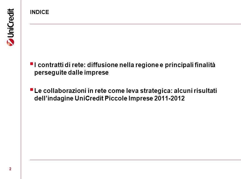 2 INDICE I contratti di rete: diffusione nella regione e principali finalità perseguite dalle imprese Le collaborazioni in rete come leva strategica: alcuni risultati dellindagine UniCredit Piccole Imprese 2011-2012