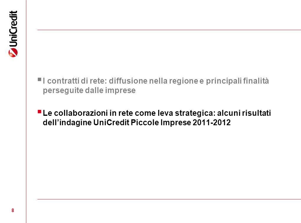 8 I contratti di rete: diffusione nella regione e principali finalità perseguite dalle imprese Le collaborazioni in rete come leva strategica: alcuni risultati dellindagine UniCredit Piccole Imprese 2011-2012