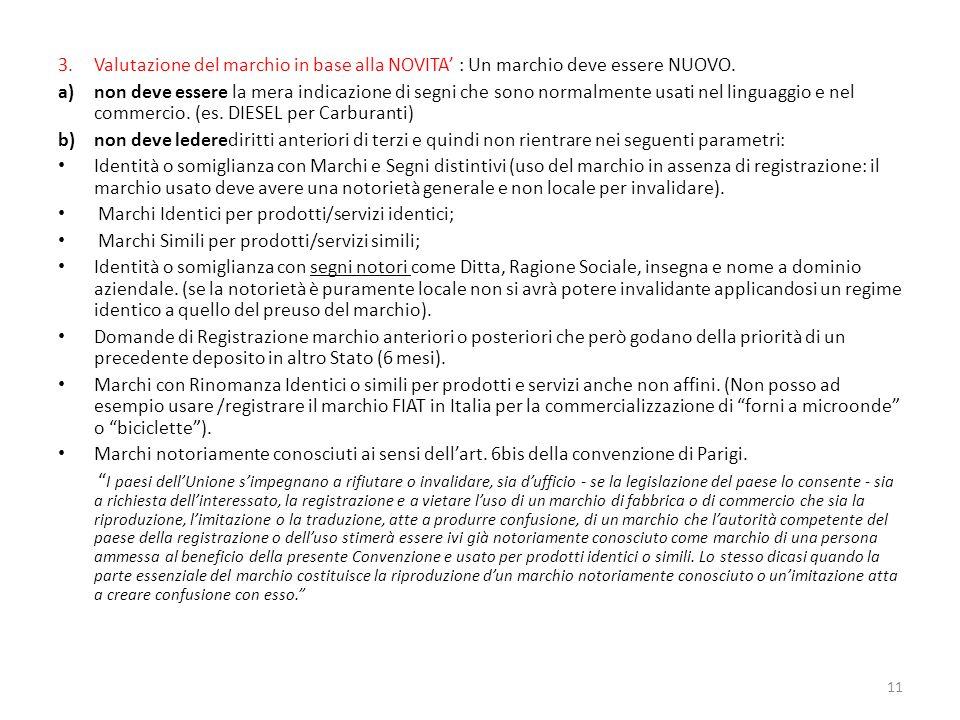 3.Valutazione del marchio in base alla NOVITA : Un marchio deve essere NUOVO.