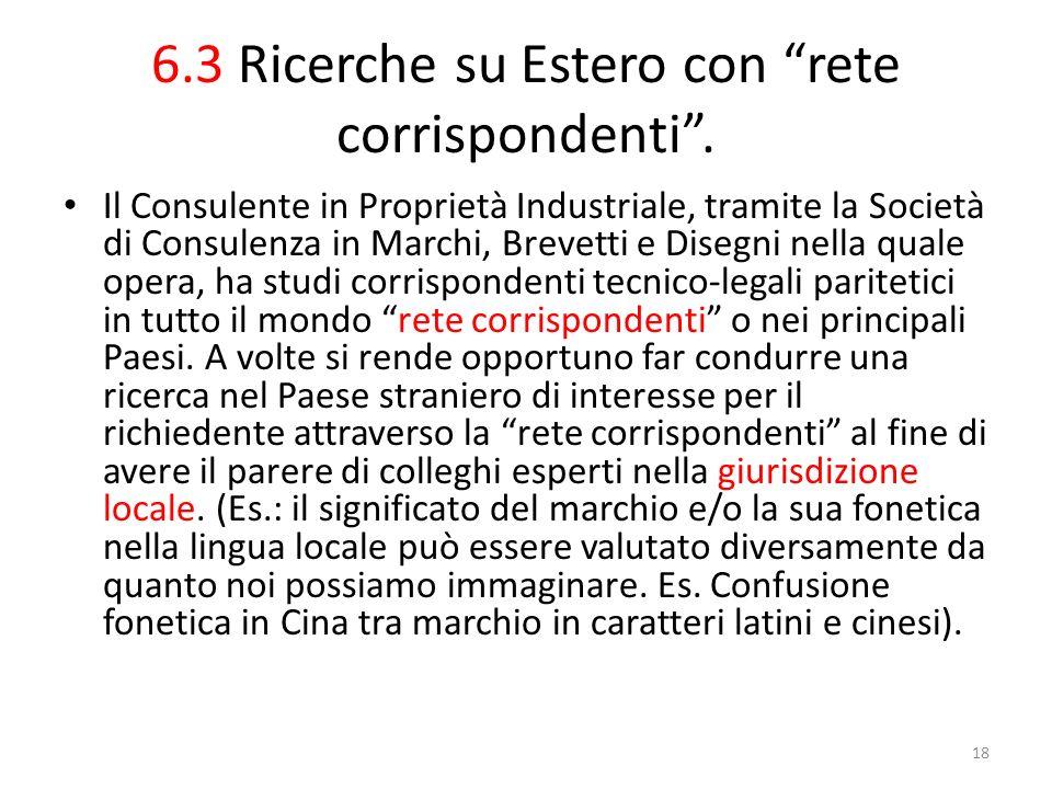 6.3 Ricerche su Estero con rete corrispondenti.