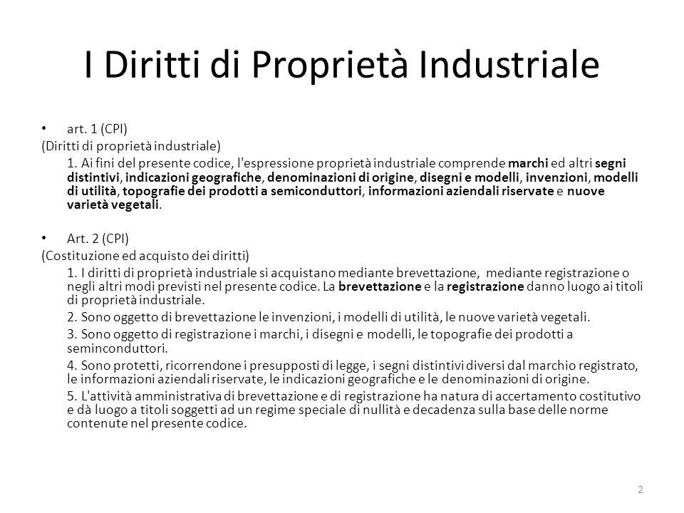 I Diritti di Proprietà Industriale art.1 (CPI) (Diritti di proprietà industriale) 1.