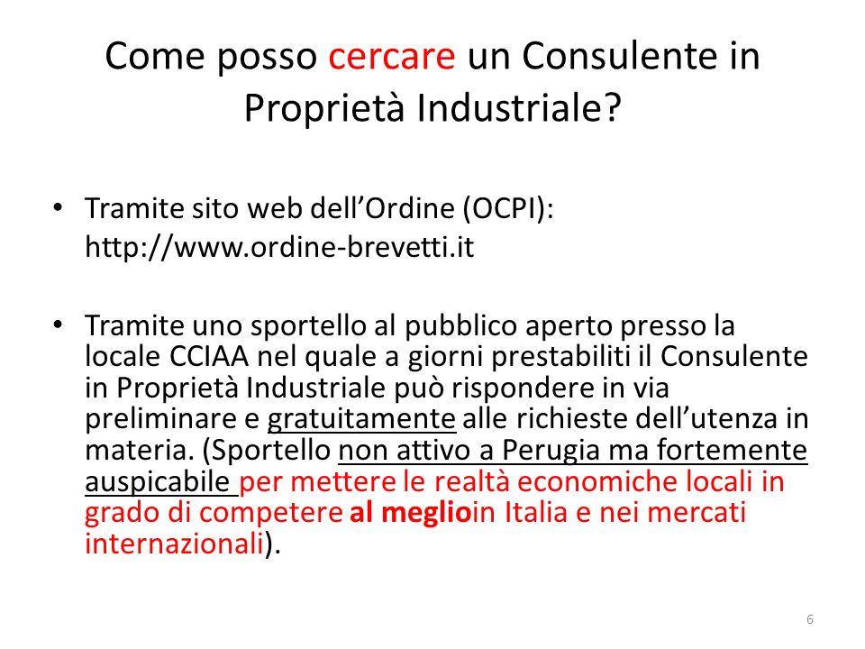Come posso cercare un Consulente in Proprietà Industriale.