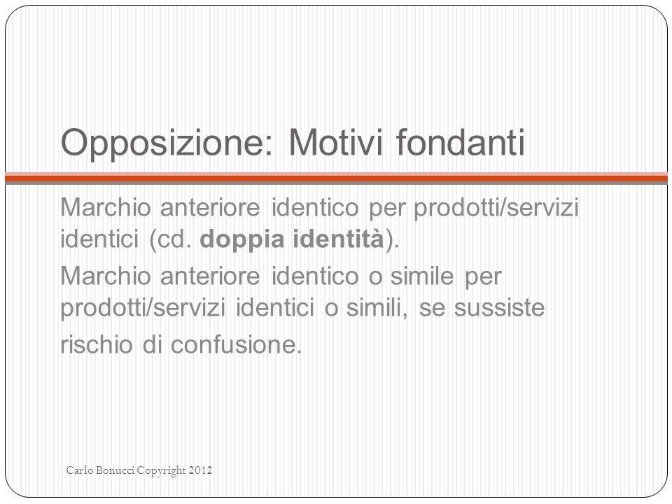 Opposizione: Motivi fondanti Marchio anteriore identico per prodotti/servizi identici (cd. doppia identità). Marchio anteriore identico o simile per p