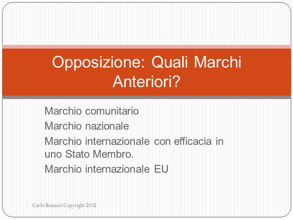 Marchio comunitario Marchio nazionale Marchio internazionale con efficacia in uno Stato Membro. Marchio internazionale EU Carlo Bonucci Copyright 2012