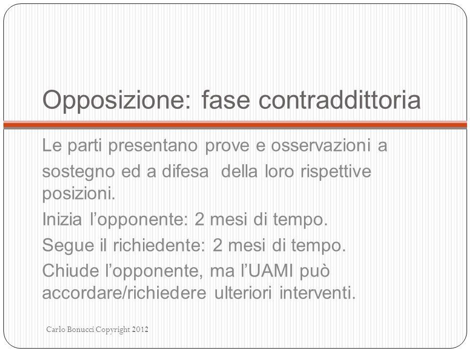 Opposizione: fase contraddittoria Le parti presentano prove e osservazioni a sostegno ed a difesa della loro rispettive posizioni. Inizia lopponente: