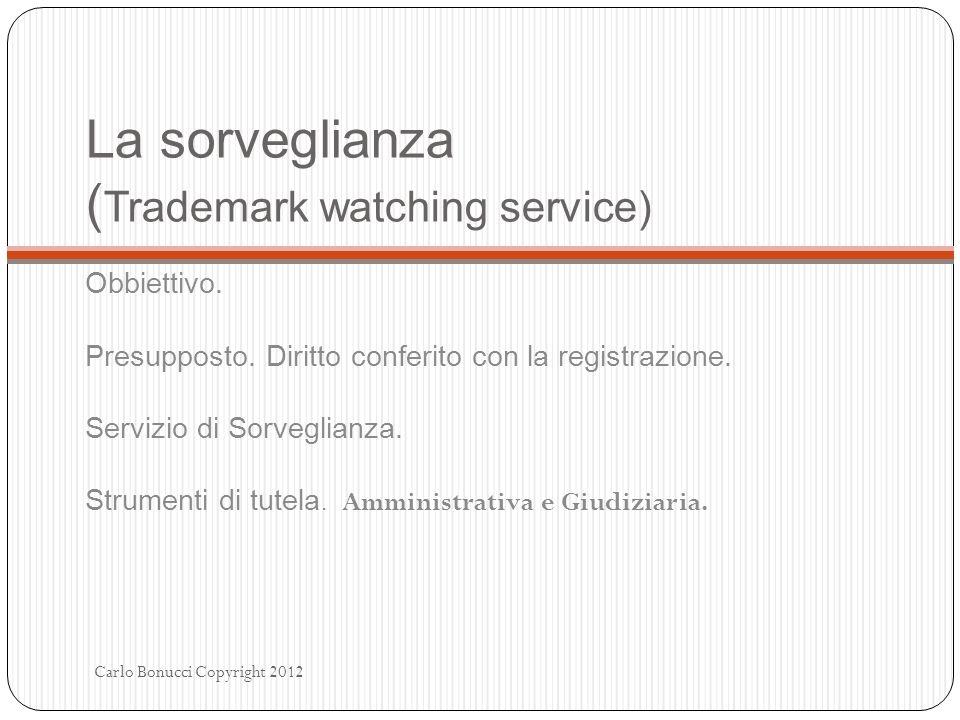 La sorveglianza ( Trademark watching service) Obbiettivo. Presupposto. Diritto conferito con la registrazione. Servizio di Sorveglianza. Strumenti di