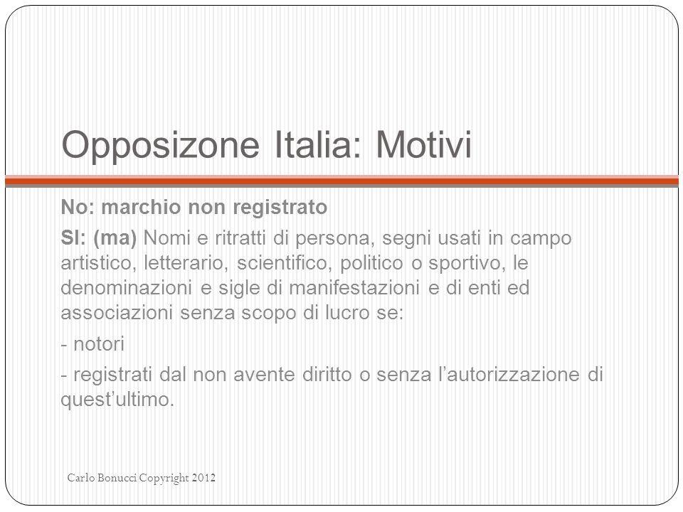 Opposizone Italia: Motivi No: marchio non registrato SI: (ma) Nomi e ritratti di persona, segni usati in campo artistico, letterario, scientifico, pol