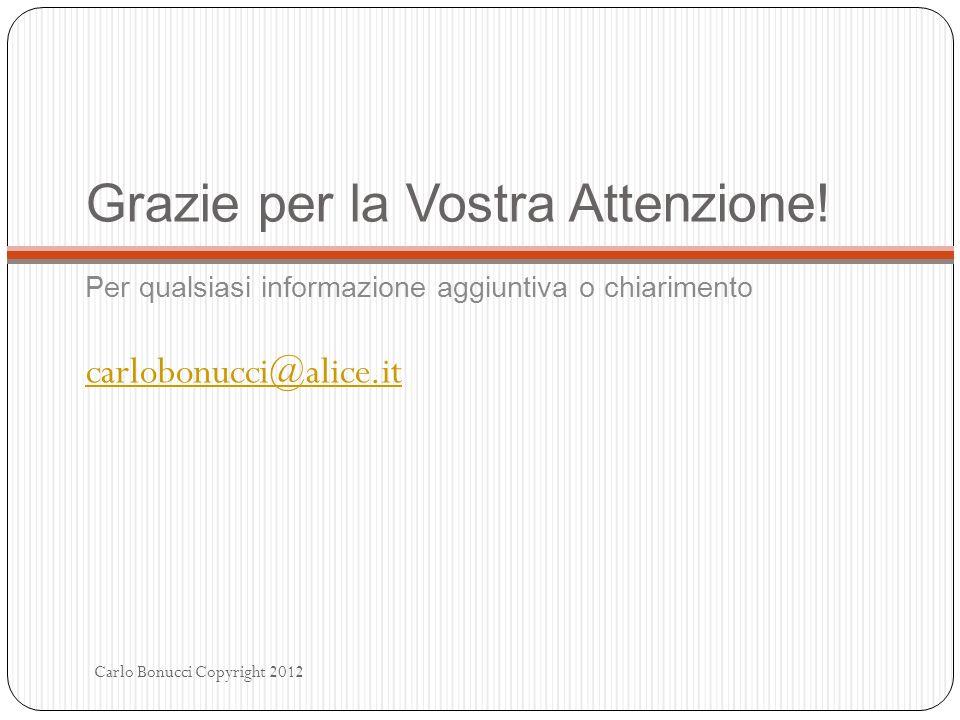 Grazie per la Vostra Attenzione! Per qualsiasi informazione aggiuntiva o chiarimento carlobonucci@alice.it Carlo Bonucci Copyright 2012