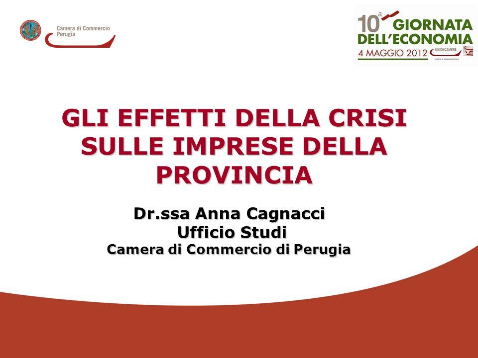 Dr.ssa Anna Cagnacci Ufficio Studi Ufficio Studi Camera di Commercio di Perugia GLI EFFETTI DELLA CRISI SULLE IMPRESE DELLA PROVINCIA