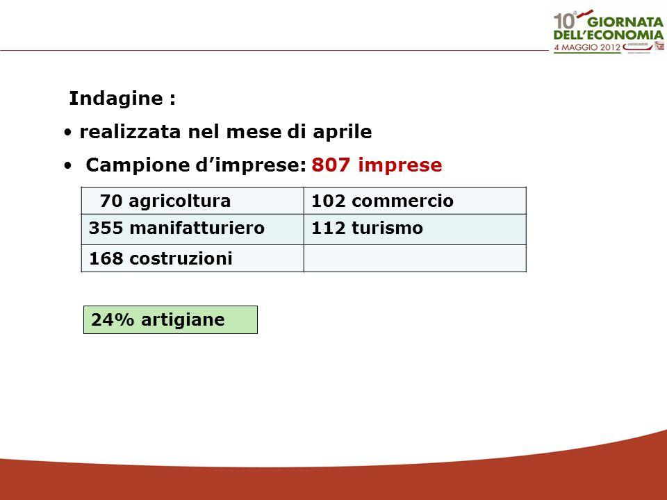 Indagine : realizzata nel mese di aprile Campione dimprese: 807 imprese 70 agricoltura102 commercio 355 manifatturiero112 turismo 168 costruzioni 24%