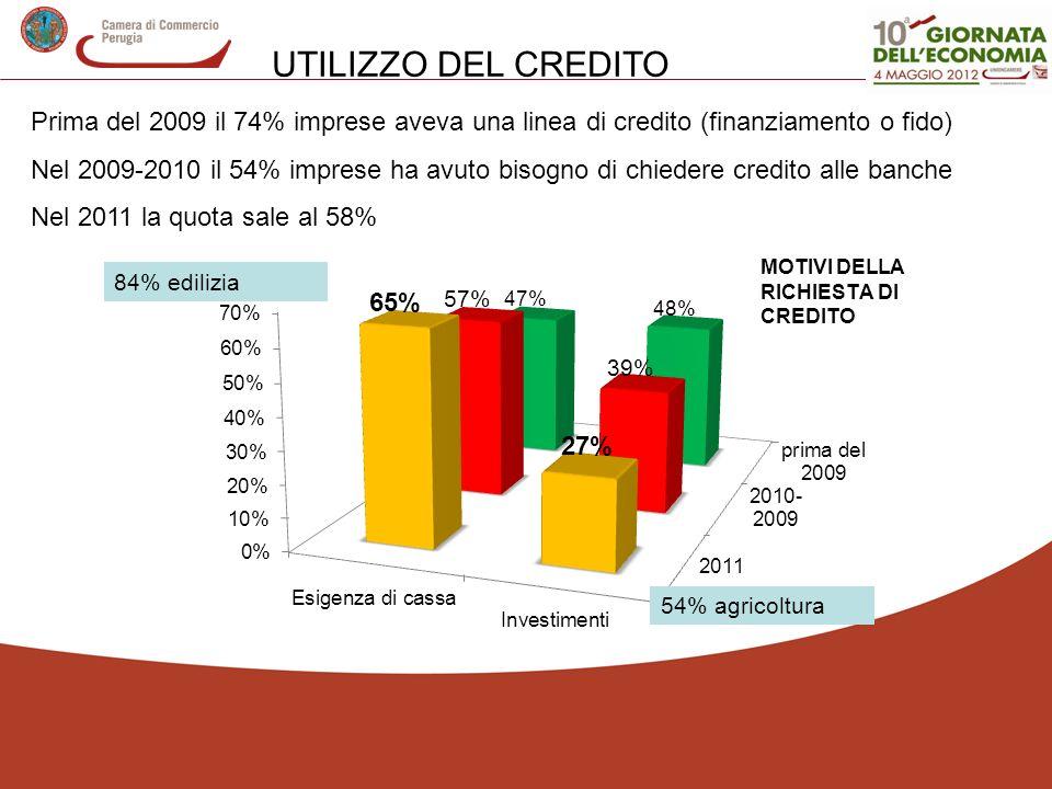 UTILIZZO DEL CREDITO Prima del 2009 il 74% imprese aveva una linea di credito (finanziamento o fido) Nel 2009-2010 il 54% imprese ha avuto bisogno di