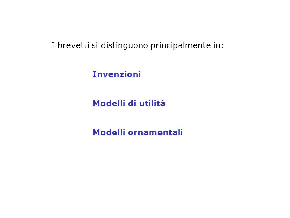 I brevetti si distinguono principalmente in: Invenzioni Modelli di utilità Modelli ornamentali