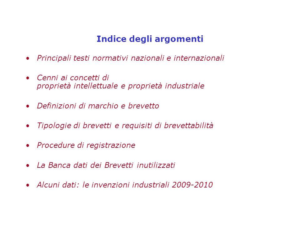 Indice degli argomenti Principali testi normativi nazionali e internazionali Cenni ai concetti di proprietà intellettuale e proprietà industriale Defi
