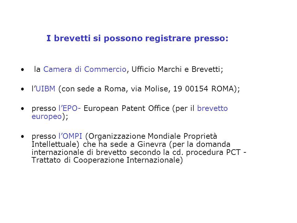 I brevetti si possono registrare presso: la Camera di Commercio, Ufficio Marchi e Brevetti; lUIBM (con sede a Roma, via Molise, 19 00154 ROMA); presso
