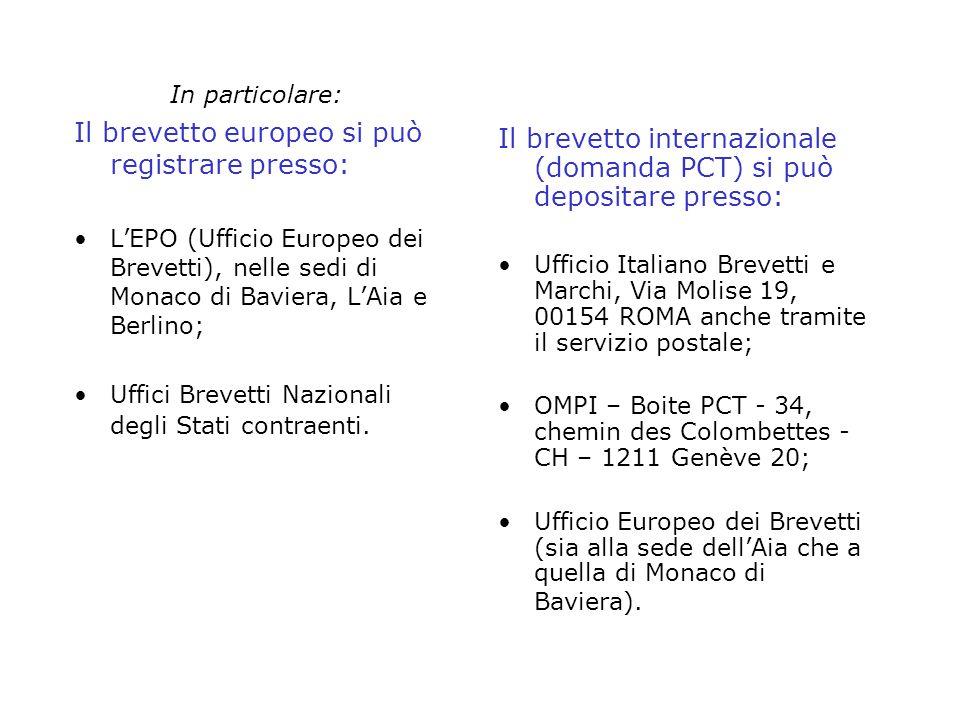 In particolare: Il brevetto europeo si può registrare presso: LEPO (Ufficio Europeo dei Brevetti), nelle sedi di Monaco di Baviera, LAia e Berlino; Uf