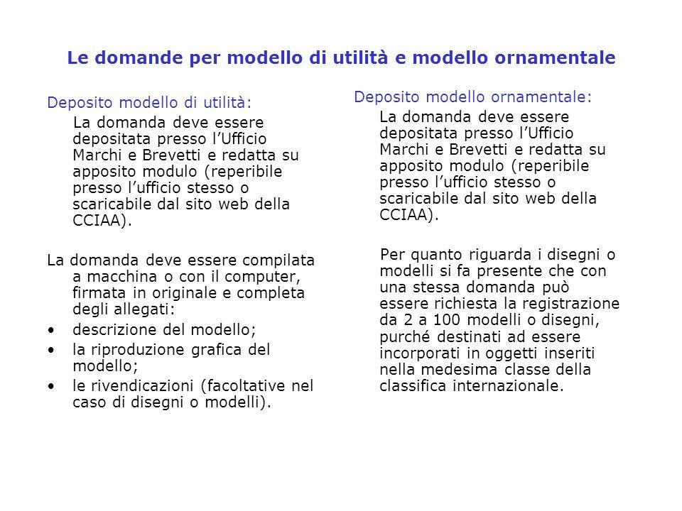 Le domande per modello di utilità e modello ornamentale Deposito modello di utilità: La domanda deve essere depositata presso lUfficio Marchi e Brevet