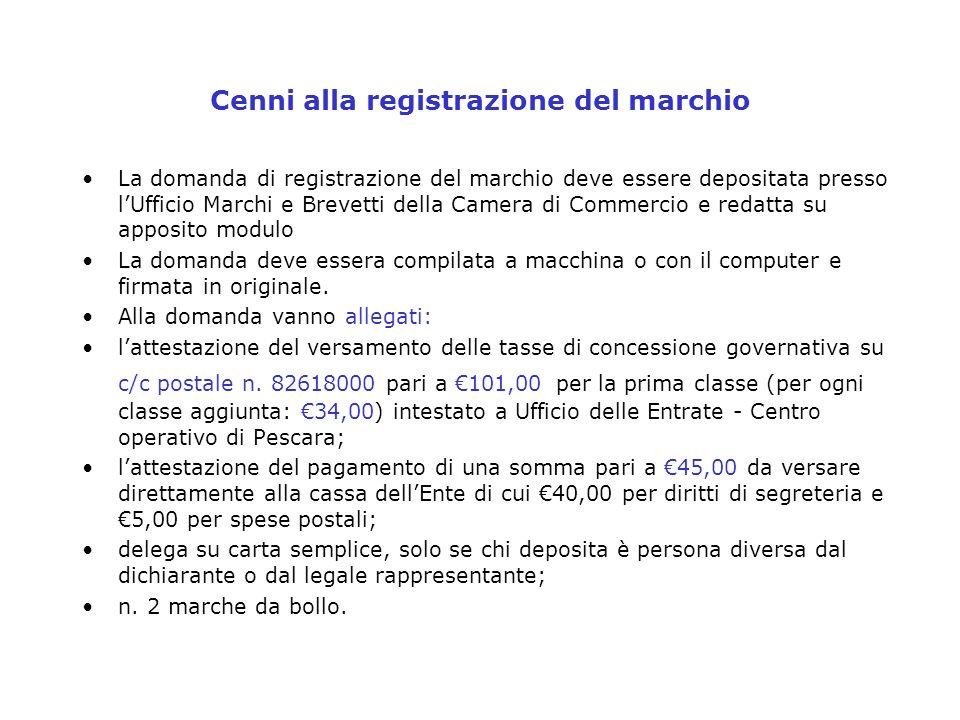 Cenni alla registrazione del marchio La domanda di registrazione del marchio deve essere depositata presso lUfficio Marchi e Brevetti della Camera di