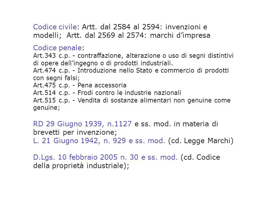 Codice civile: Artt. dal 2584 al 2594: invenzioni e modelli; Artt. dal 2569 al 2574: marchi dimpresa Codice penale: Art.343 c.p. - contraffazione, alt