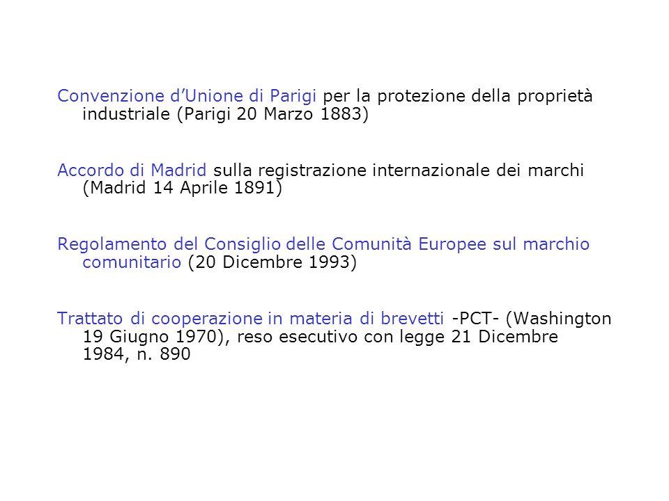 Convenzione dUnione di Parigi per la protezione della proprietà industriale (Parigi 20 Marzo 1883) Accordo di Madrid sulla registrazione internazional