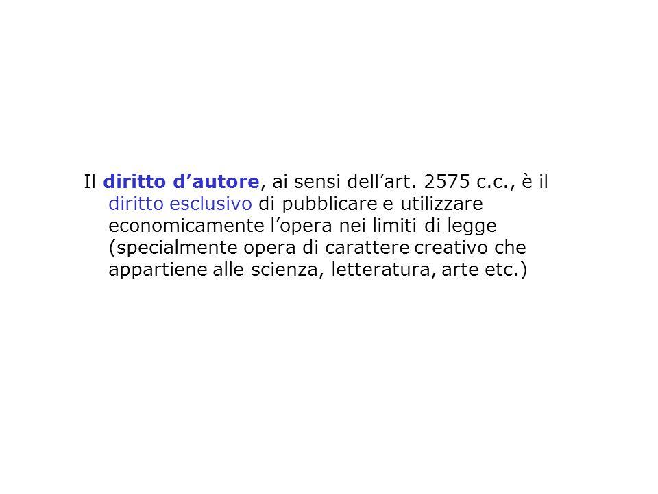 Il diritto dautore, ai sensi dellart. 2575 c.c., è il diritto esclusivo di pubblicare e utilizzare economicamente lopera nei limiti di legge (specialm