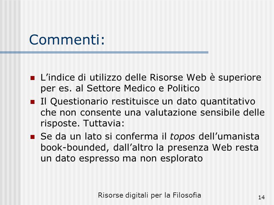 Risorse digitali per la Filosofia 14 Commenti: Lindice di utilizzo delle Risorse Web è superiore per es.