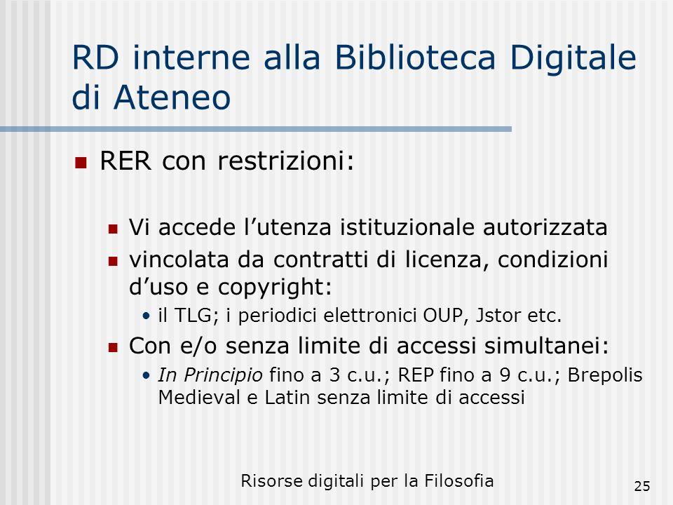 Risorse digitali per la Filosofia 25 RD interne alla Biblioteca Digitale di Ateneo RER con restrizioni: Vi accede lutenza istituzionale autorizzata vincolata da contratti di licenza, condizioni duso e copyright: il TLG; i periodici elettronici OUP, Jstor etc.