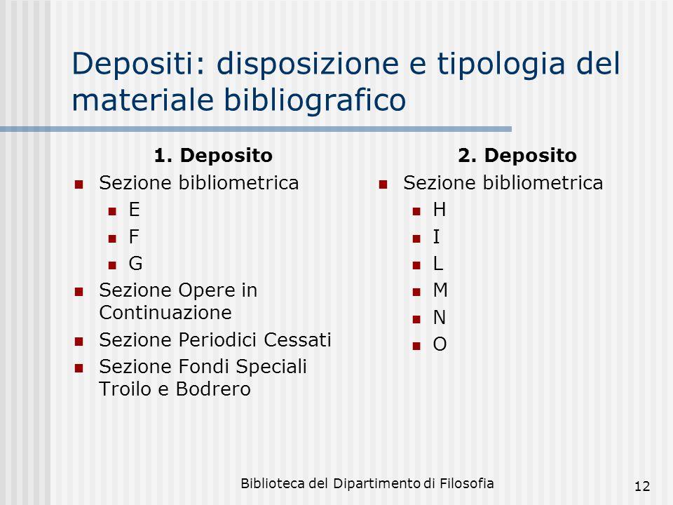 Biblioteca del Dipartimento di Filosofia 12 Depositi: disposizione e tipologia del materiale bibliografico 1. Deposito Sezione bibliometrica E F G Sez