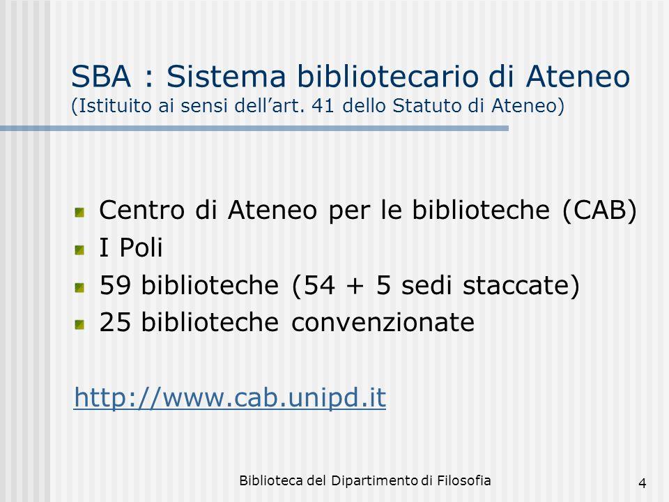 Biblioteca del Dipartimento di Filosofia 4 SBA : Sistema bibliotecario di Ateneo (Istituito ai sensi dellart. 41 dello Statuto di Ateneo) Centro di At