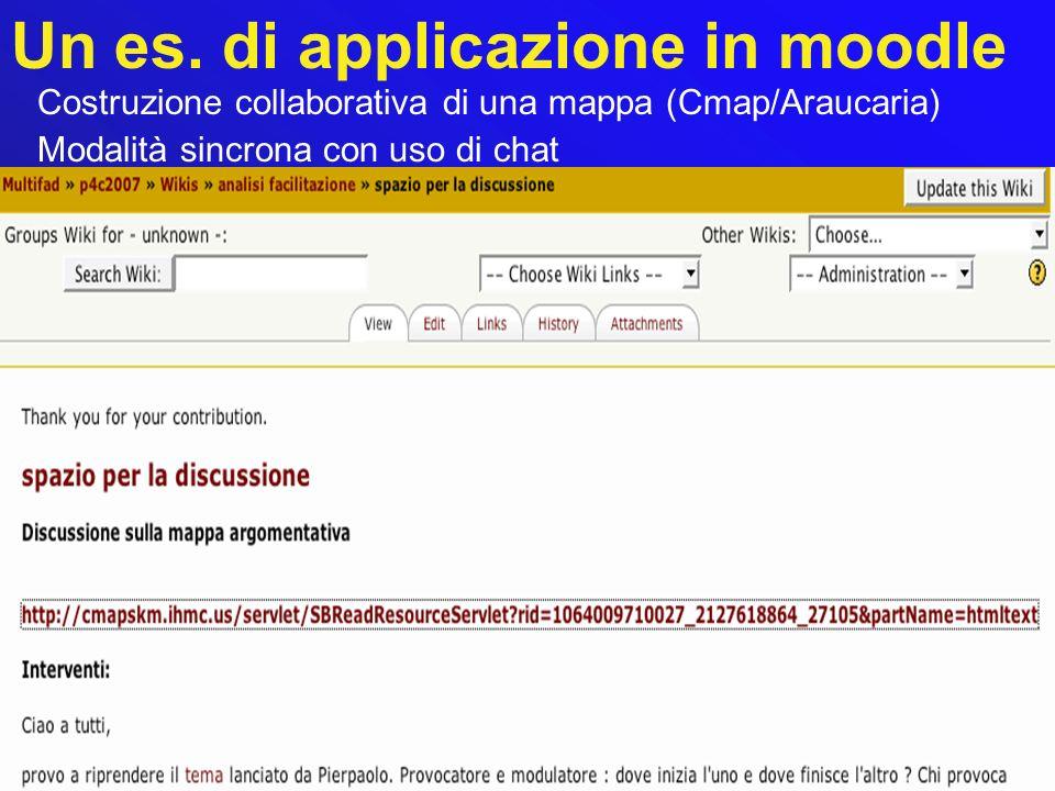 Un es. di applicazione in moodle Costruzione collaborativa di una mappa (Cmap/Araucaria) Modalità sincrona con uso di chat