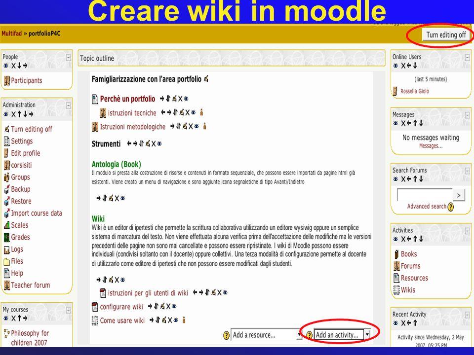 Creare wiki in moodle