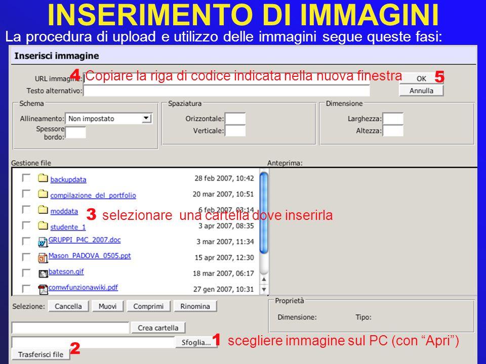 INSERIMENTO DI IMMAGINI La procedura di upload e utilizzo delle immagini segue queste fasi: 1 scegliere immagine sul PC (con Apri) 2 3 selezionare una
