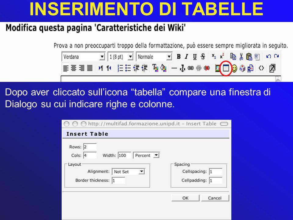 INSERIMENTO DI TABELLE Dopo aver cliccato sullicona tabella compare una finestra di Dialogo su cui indicare righe e colonne.