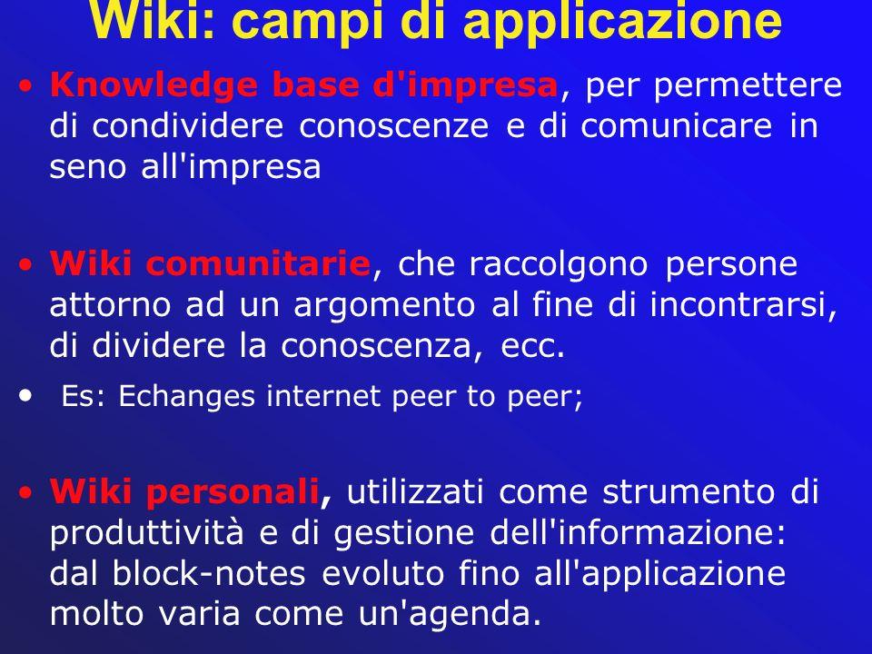 Wiki: campi di applicazione Knowledge base d'impresa, per permettere di condividere conoscenze e di comunicare in seno all'impresa Wiki comunitarie, c