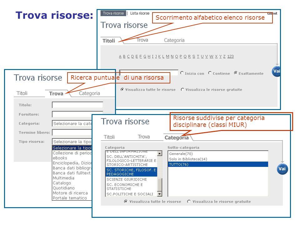 Trova risorse: Scorrimento alfabetico elenco risorse Ricerca puntuale di una risorsa Risorse suddivise per categoria disciplinare (classi MIUR)