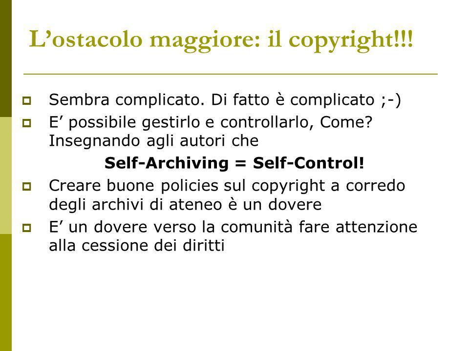 Lostacolo maggiore: il copyright!!. Sembra complicato.