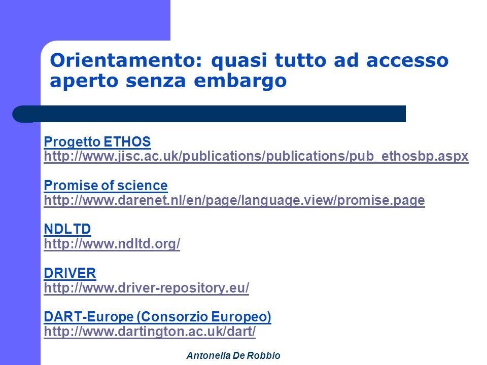 Antonella De Robbio Orientamento: quasi tutto ad accesso aperto senza embargo Progetto ETHOS http://www.jisc.ac.uk/publications/publications/pub_ethosbp.aspx Promise of science http://www.darenet.nl/en/page/language.view/promise.page NDLTD http://www.ndltd.org/ DRIVER http://www.driver-repository.eu/ DART-Europe (Consorzio Europeo) http://www.dartington.ac.uk/dart/ http://www.jisc.ac.uk/publications/publications/pub_ethosbp.aspx http://www.darenet.nl/en/page/language.view/promise.page http://www.ndltd.org/ http://www.driver-repository.eu/ http://www.dartington.ac.uk/dart/