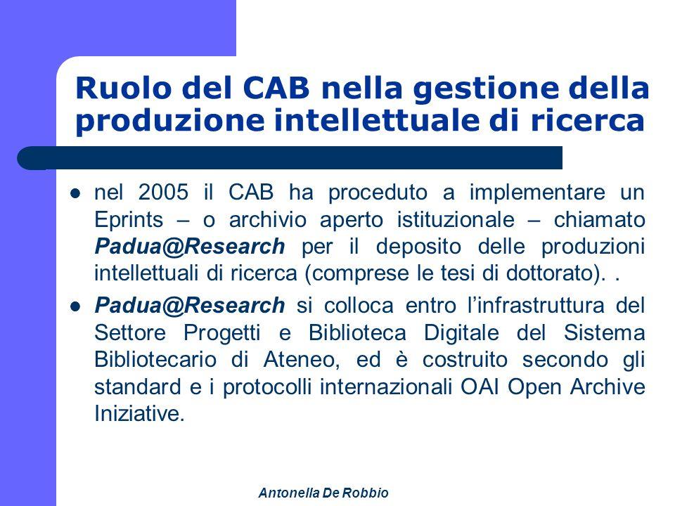 Antonella De Robbio Ruolo del CAB nella gestione della produzione intellettuale di ricerca nel 2005 il CAB ha proceduto a implementare un Eprints – o archivio aperto istituzionale – chiamato Padua@Research per il deposito delle produzioni intellettuali di ricerca (comprese le tesi di dottorato)..