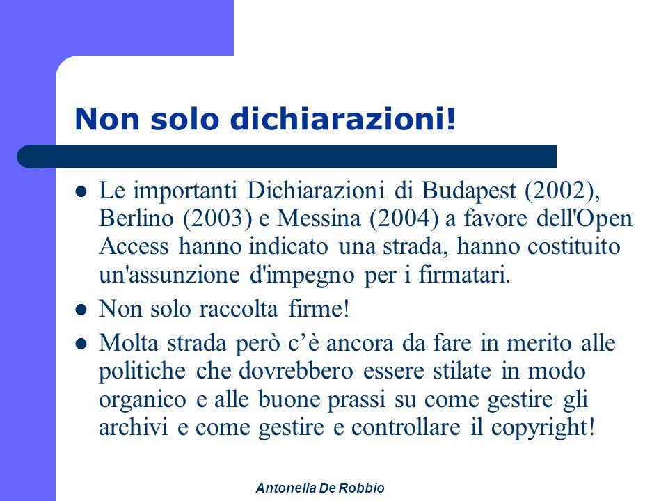 Antonella De Robbio Non solo dichiarazioni.