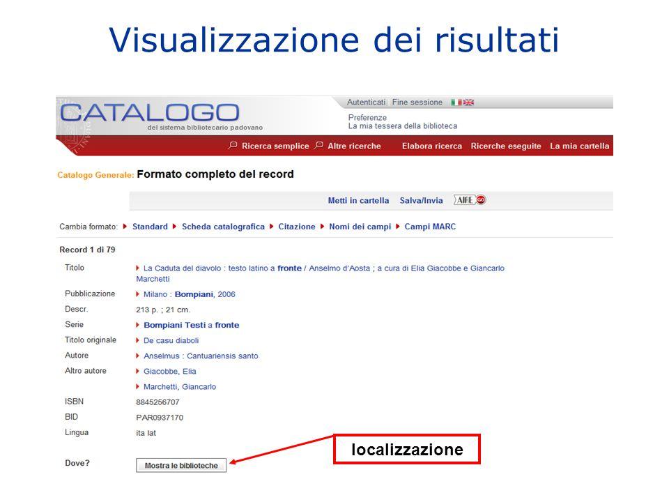 Visualizzazione dei risultati localizzazione