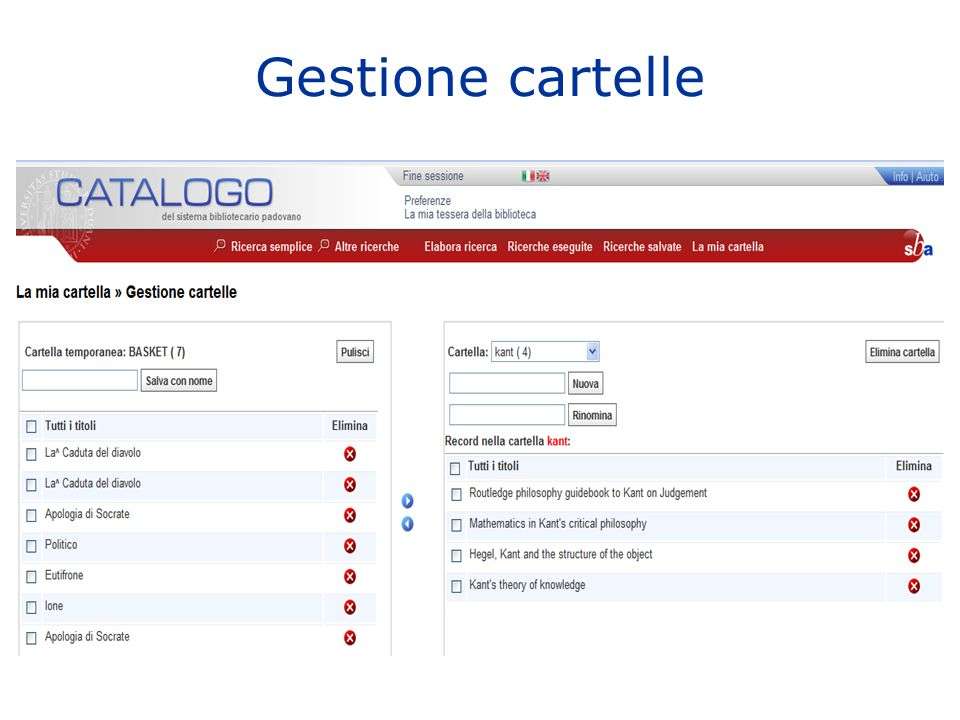 Gestione cartelle
