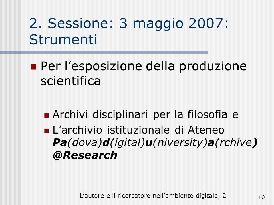 Lautore e il ricercatore nellambiente digitale, 2. 10 2. Sessione: 3 maggio 2007: Strumenti Per lesposizione della produzione scientifica Archivi disc