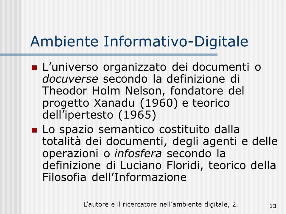 Lautore e il ricercatore nellambiente digitale, 2. 13 Ambiente Informativo-Digitale Luniverso organizzato dei documenti o docuverse secondo la definiz