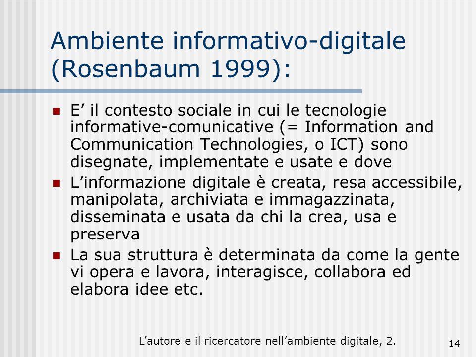 Lautore e il ricercatore nellambiente digitale, 2. 14 Ambiente informativo-digitale (Rosenbaum 1999): E il contesto sociale in cui le tecnologie infor