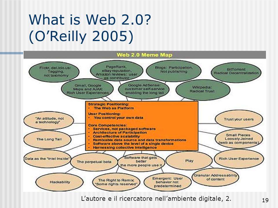 Lautore e il ricercatore nellambiente digitale, 2. 19 What is Web 2.0? (OReilly 2005) -