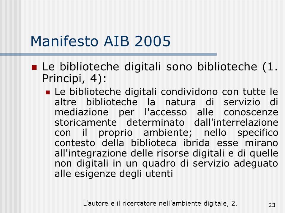 Lautore e il ricercatore nellambiente digitale, 2. 23 Manifesto AIB 2005 Le biblioteche digitali sono biblioteche (1. Principi, 4): Le biblioteche dig