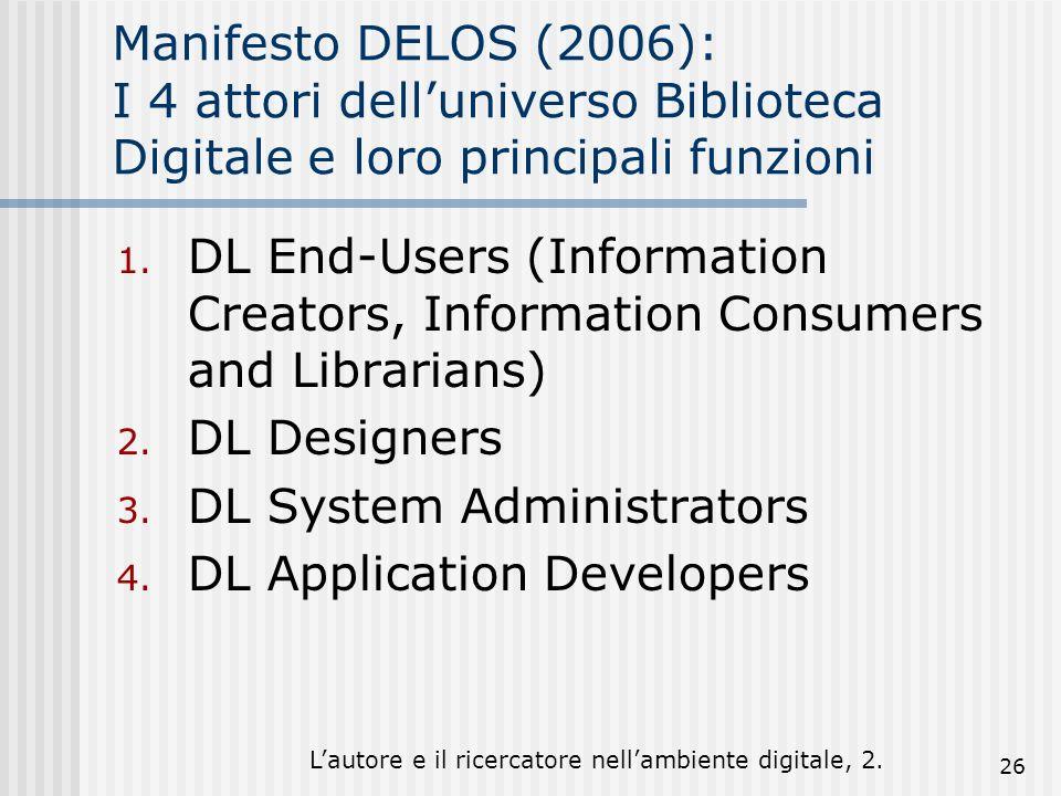 Lautore e il ricercatore nellambiente digitale, 2. 26 Manifesto DELOS (2006): I 4 attori delluniverso Biblioteca Digitale e loro principali funzioni 1