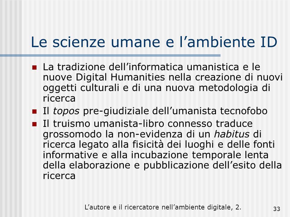 Lautore e il ricercatore nellambiente digitale, 2. 33 Le scienze umane e lambiente ID La tradizione dellinformatica umanistica e le nuove Digital Huma