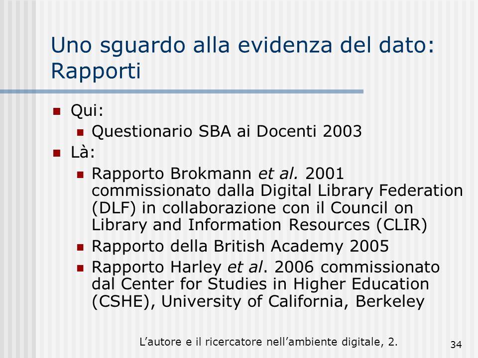 Lautore e il ricercatore nellambiente digitale, 2. 34 Uno sguardo alla evidenza del dato: Rapporti Qui: Questionario SBA ai Docenti 2003 Là: Rapporto