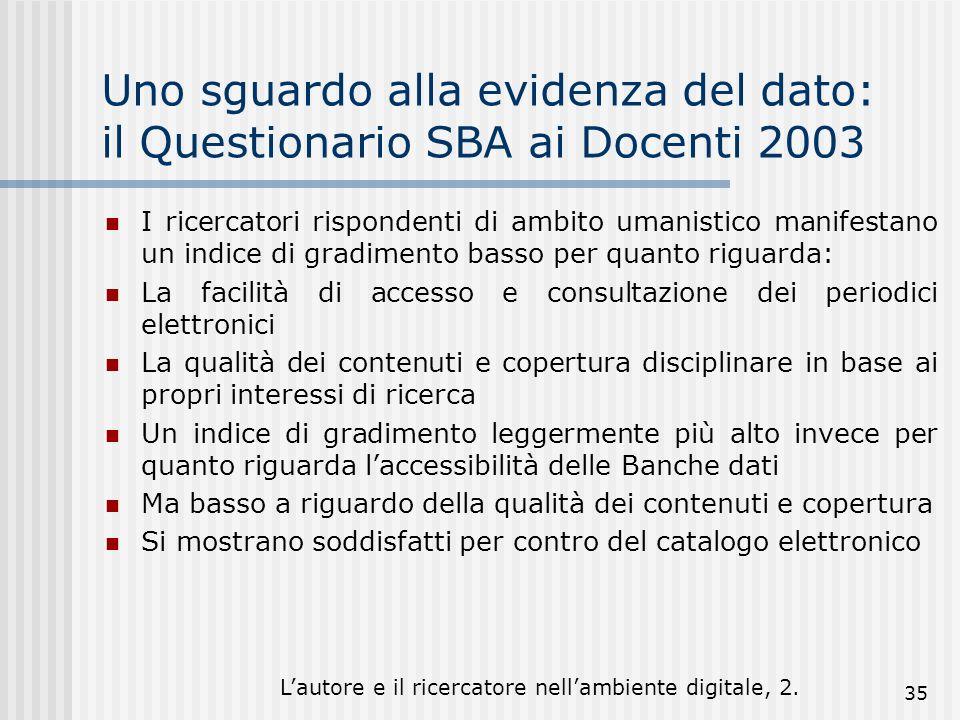 Lautore e il ricercatore nellambiente digitale, 2. 35 Uno sguardo alla evidenza del dato: il Questionario SBA ai Docenti 2003 I ricercatori rispondent